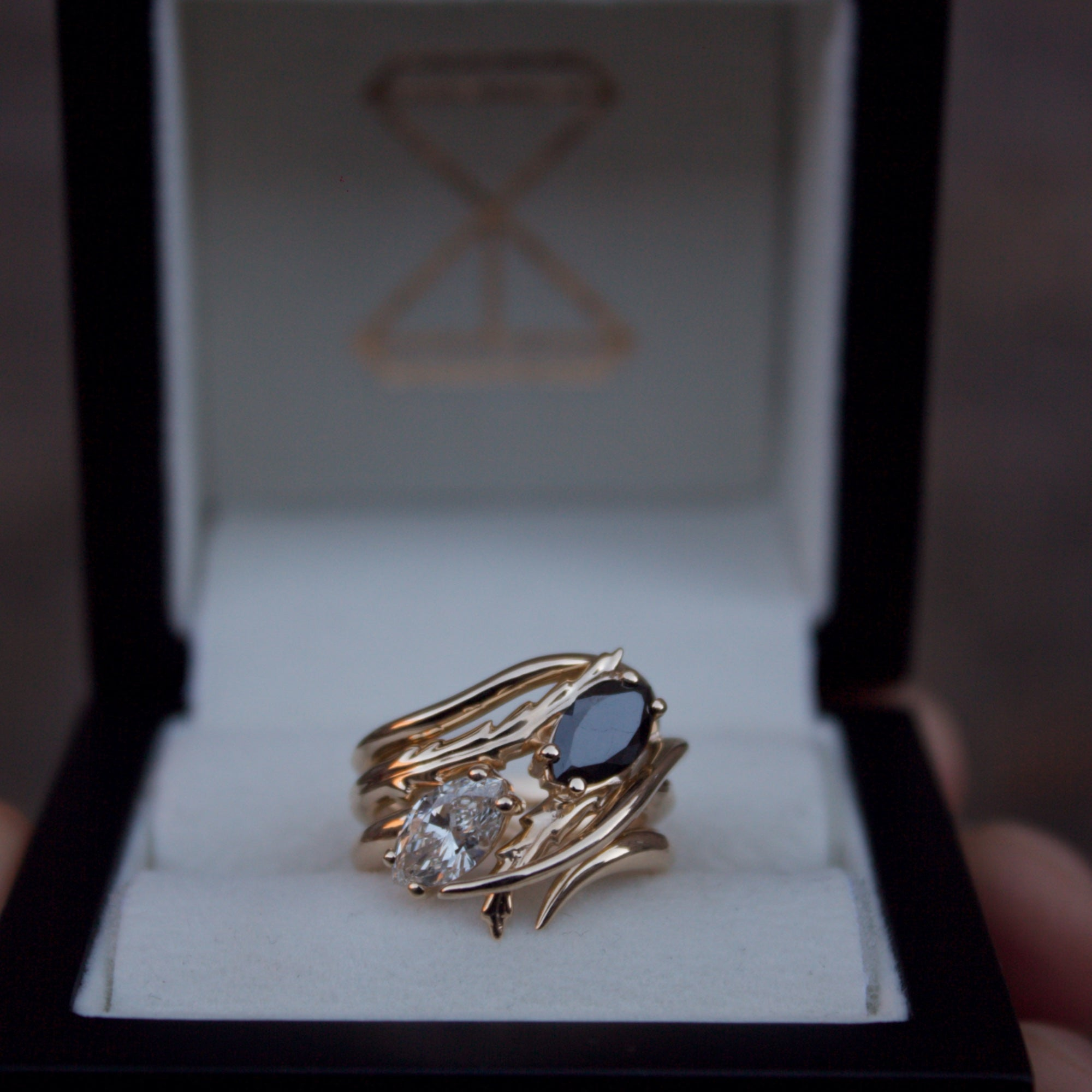 Moira Patience Fine Jewellery Bespoke Commission White and Black Diamond Trilogy Ring Edinburgh