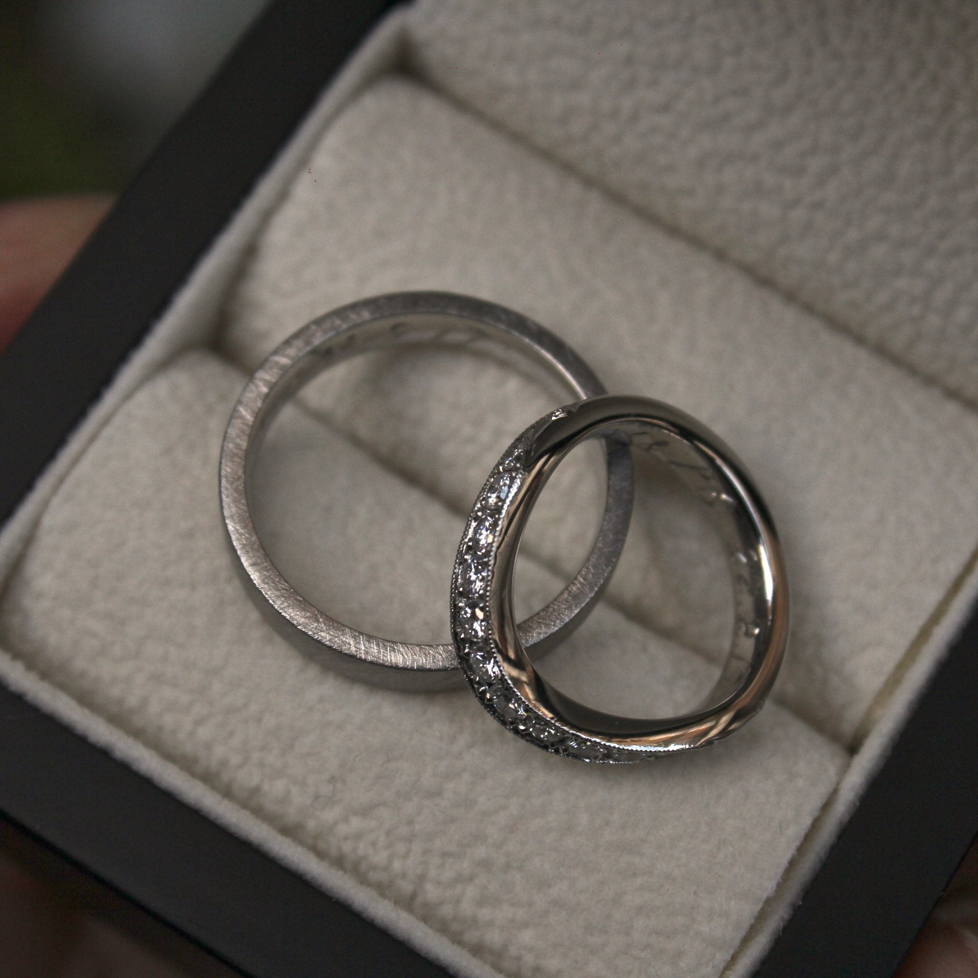 Bespoke Engraved Platinum Wedding Rings