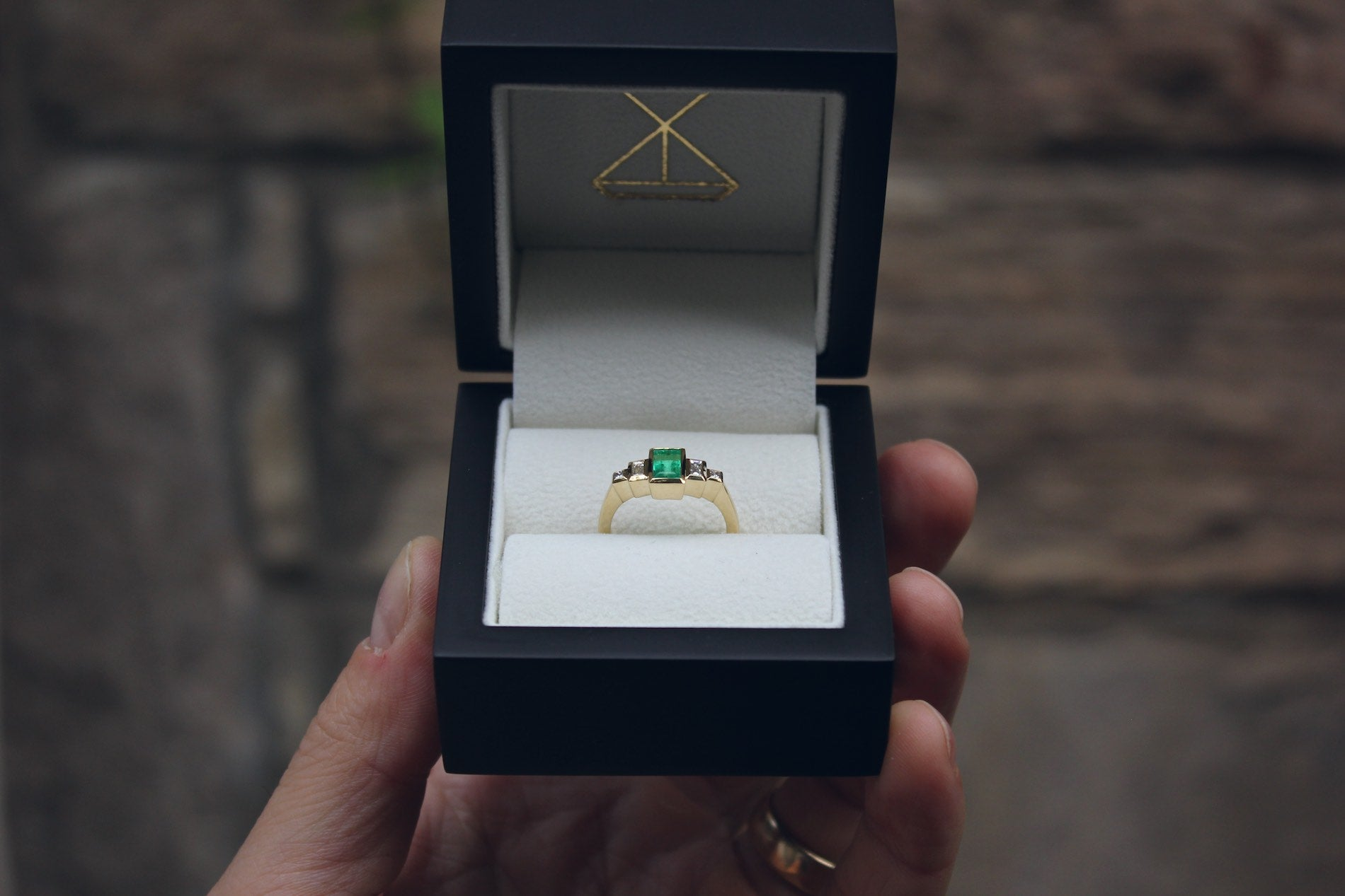 Moira Patience Fine Jewellery Bespoke Handmade Commission Emerald and Diamond Ring in Edinburgh