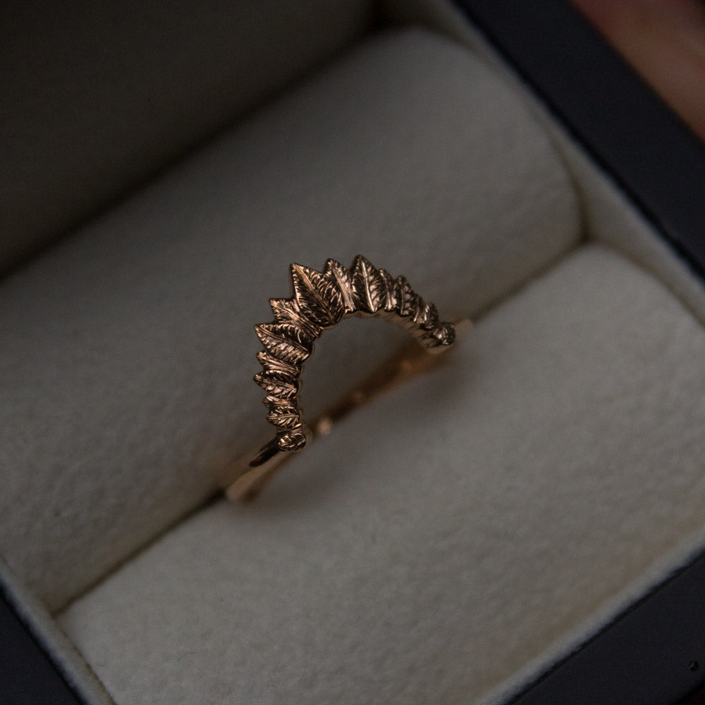 Bespoke organic fitted rose gold wedding band