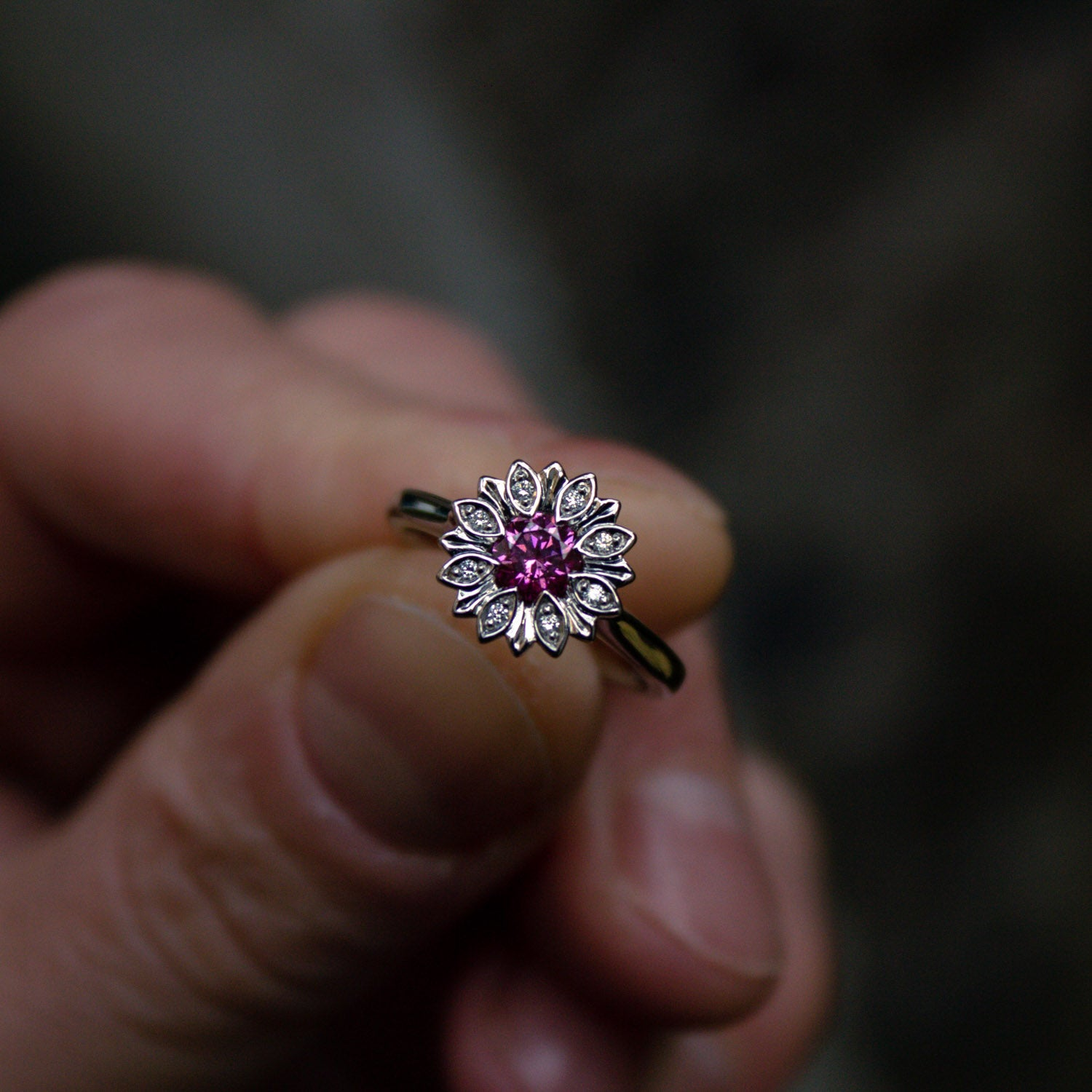 Bespoke Pink Diamond Floral Ring
