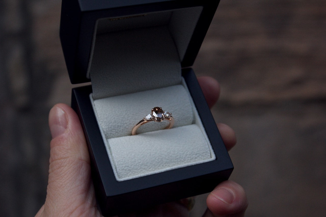 Bespoke Rose Gold Brown Cognac Diamond Engagement Ring Edinburgh