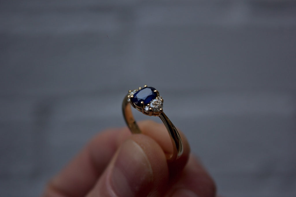 Moira Patience Fine Jewellery Bespoke Sapphire and Diamond Engagement Ring Edinburgh
