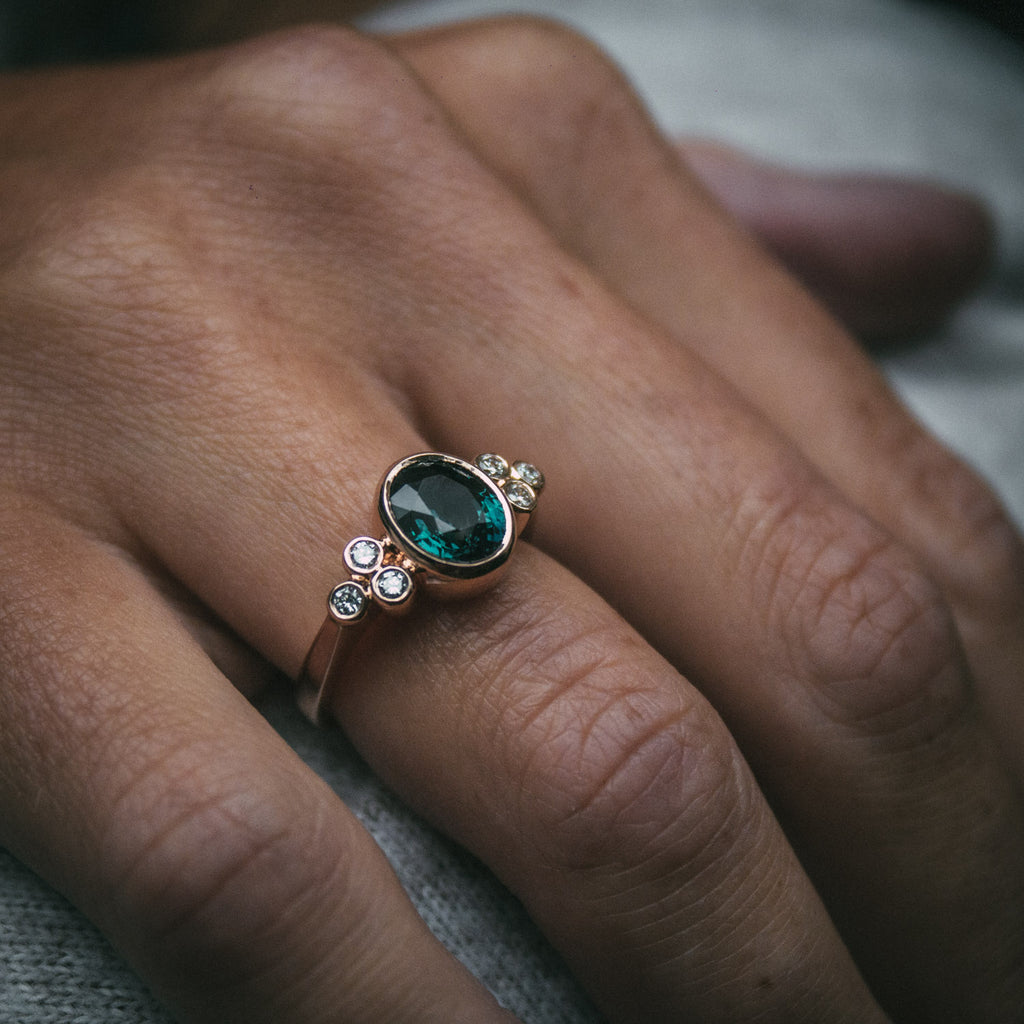 Bespoke Teal Sapphire and Diamond Engagement Ring