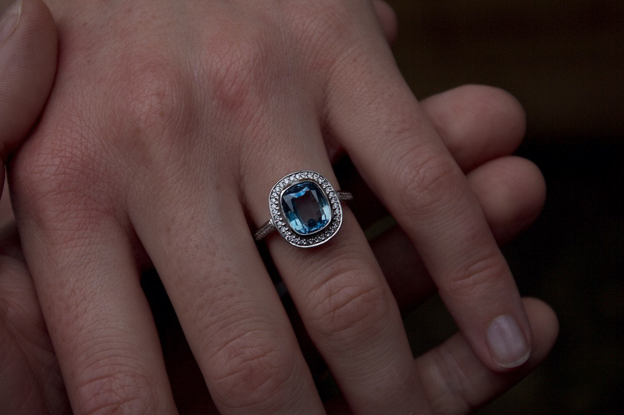 Moira Patience Fine Jewellery Edinburgh Bespoke Sapphire and Diamond Halo Engagement Ring 8