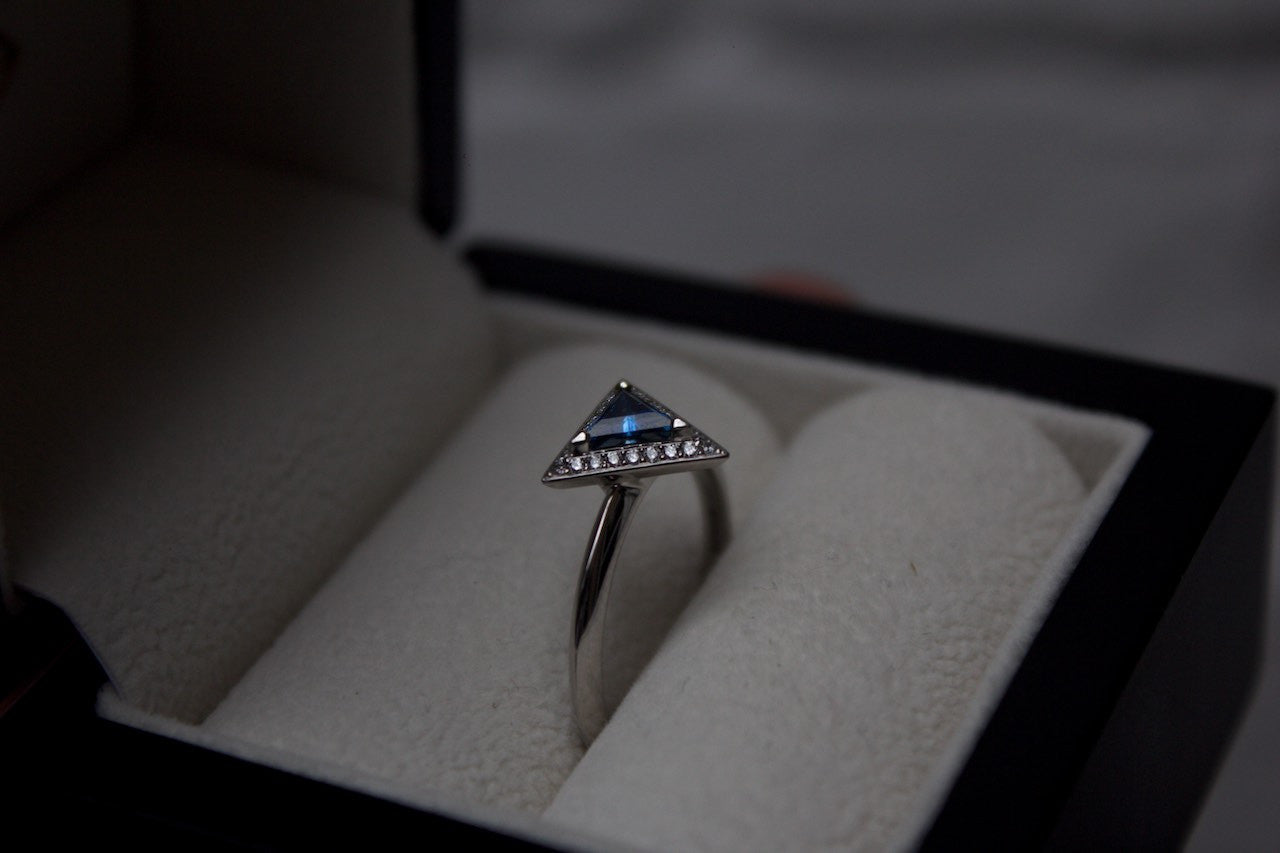 Moira Patience Fine Jewellery Edinburgh Bespoke Triangular Platinum Sapphire and Diamond Engagement Ring