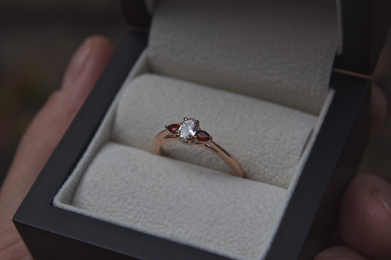 Moira Patience Fine Jewellery Garnet and Diamond Engagement Ring Edinburgh