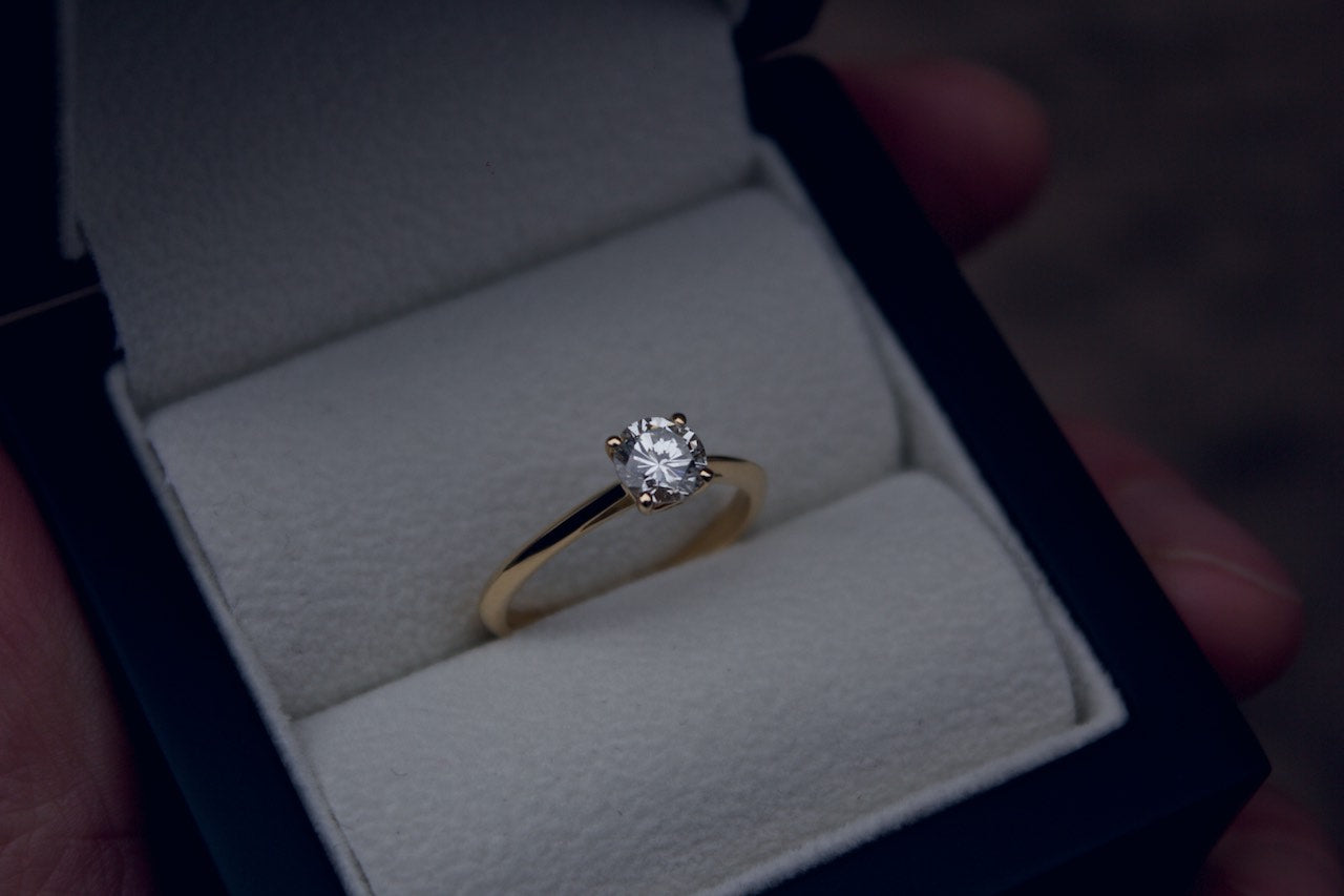 Moira Patience Fine Jewellery Gold Single Stone Diamond Engagement Ring With Hidden Diamond