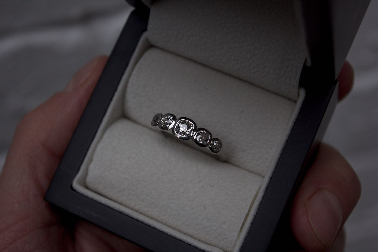 Moira Patience Fine Jewellery Remodelling Bespoke Platinum and Diamond Ring in Edinburgh