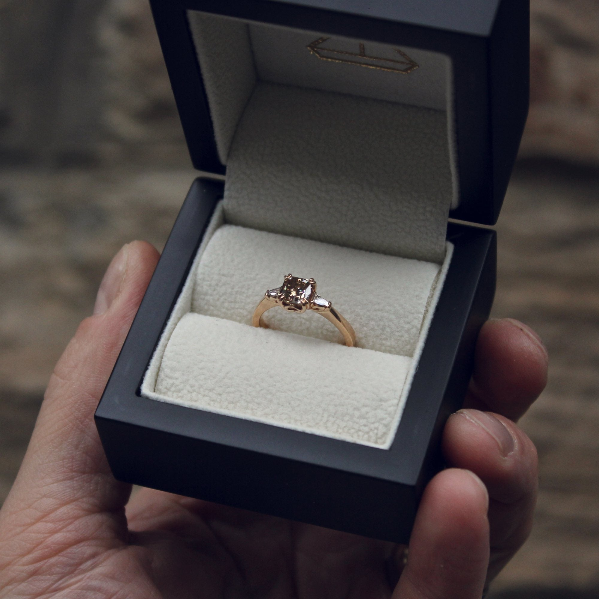 Bespoke cognac diamond engagement ring