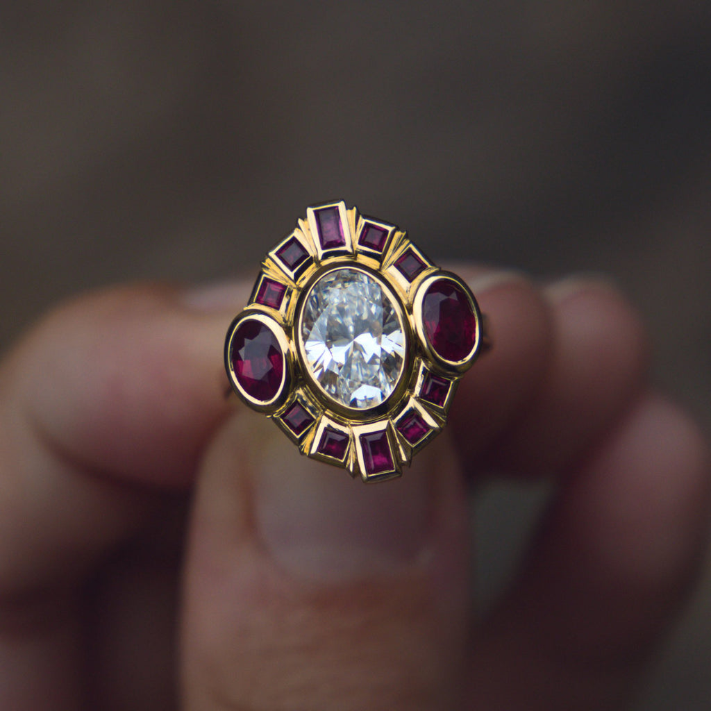 Bespoke Remodelled Diamond and Ruby Cocktail Ring