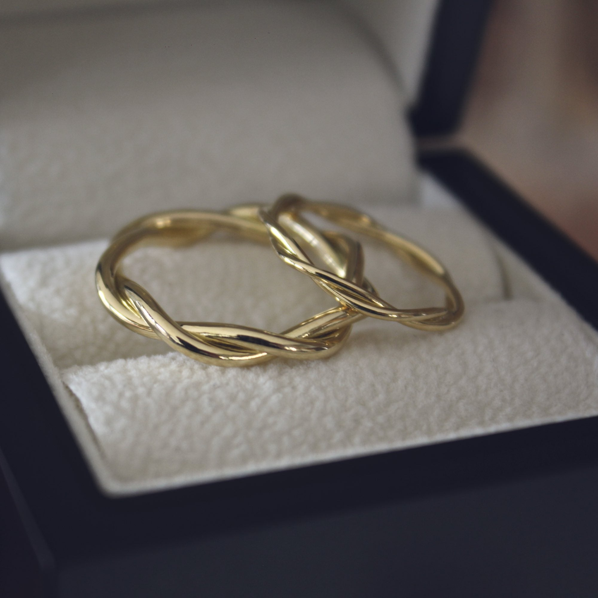 Bespoke handmade twisted gold wedding rings
