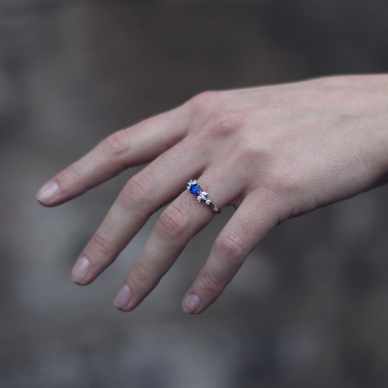 Patience Jewellery Bespoke Sapphire & Diamond Platinum Ring