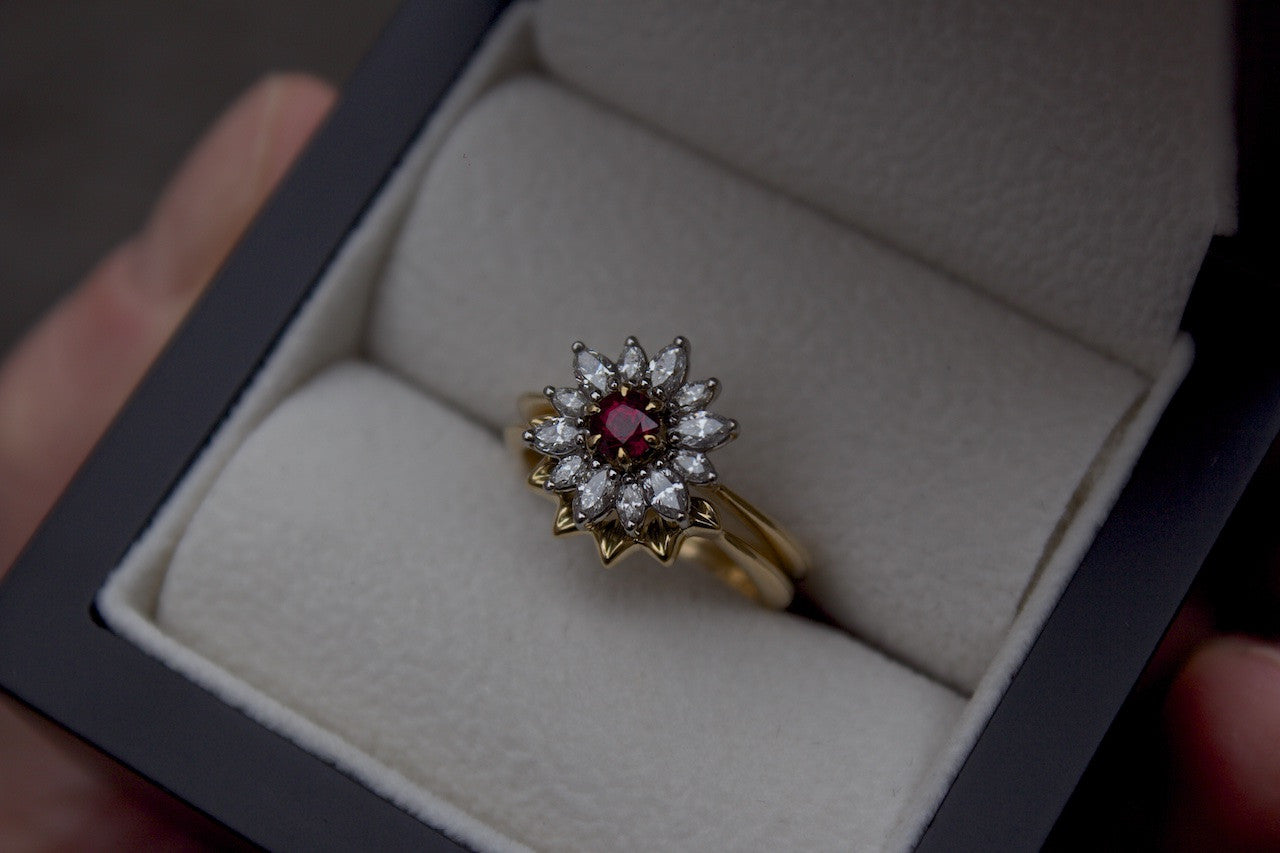 Patience Jewellery Bespoke Floral Wedding Band for Ruby and Diamond Engagement Ring