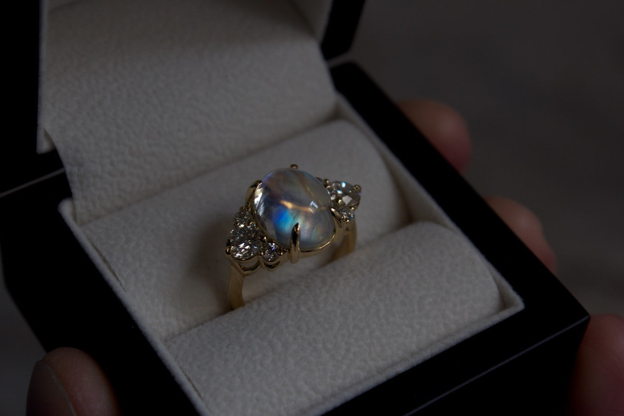 Moira Patience Jewellery Bespoke Moonstone and Diamond Ring Edinburgh