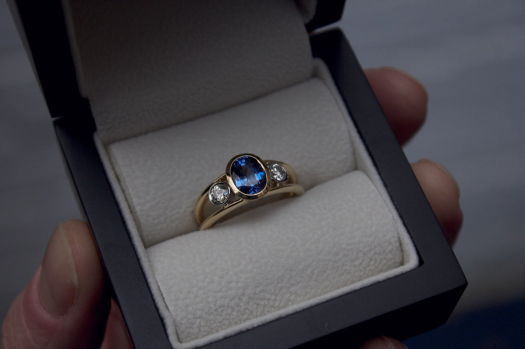 Patience Jewellery Bespoke Sapphire and Diamond Dress Ring