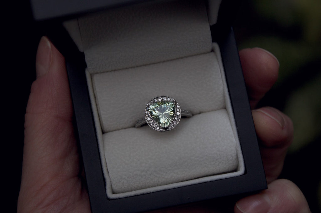 Bespoke Green Amethyst and Diamond Engagement Ring Edinburgh