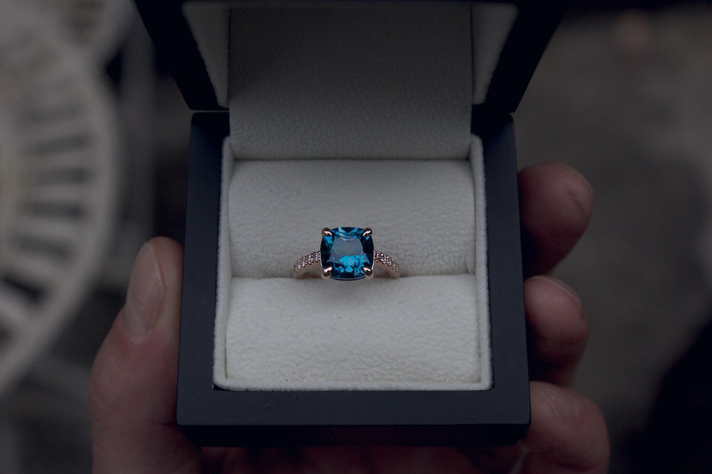 Patience Jewellery Bespoke Rose Gold London Blue Topaz Engagement Ring