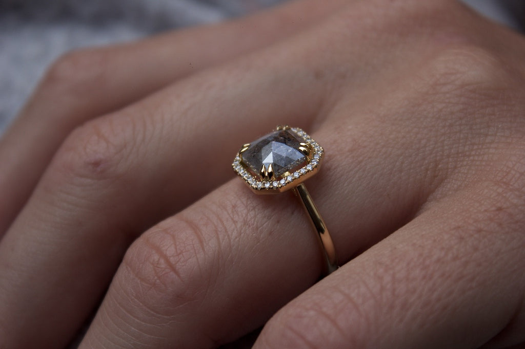 Patience Jewellery Bespoke Salt and Pepper Diamond Engagement Ring Edinburgh