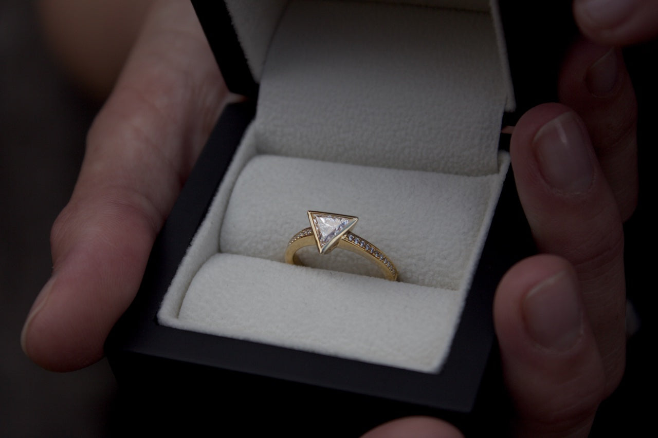 Patience Jewellery bespoke triangle diamond engagement ring