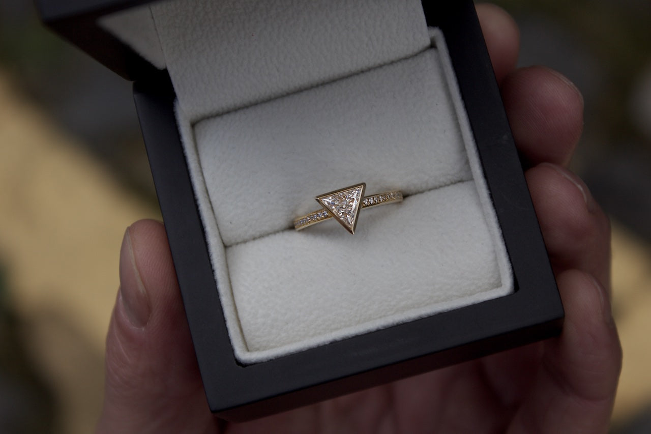 Patience Jewellery Bespoke Trillian Cut Triangle Diamond Engagement Ring