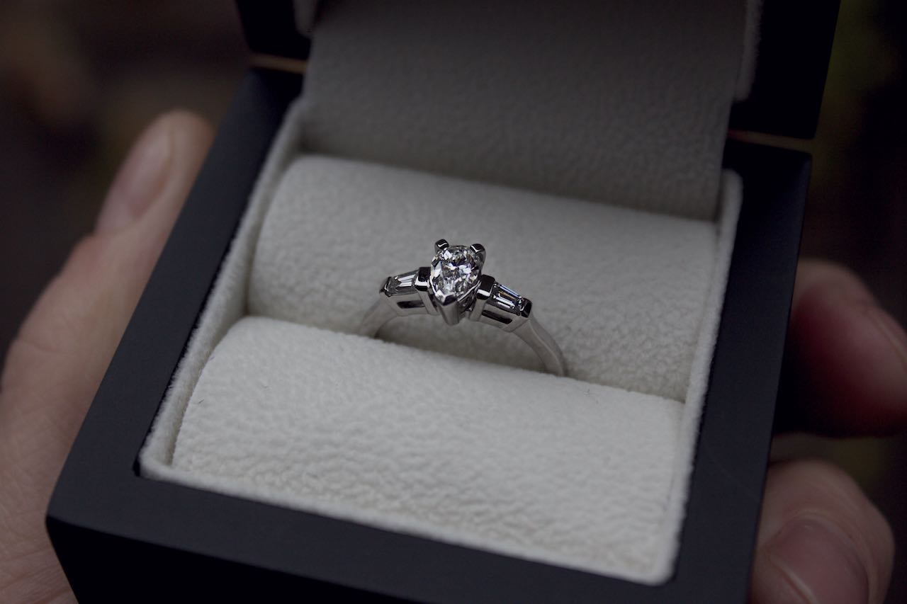 Patience Jewellery Bespoke pear shaped diamond engagement ring