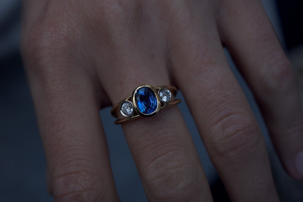 Patience Jewellery Bespoke Gold Sapphire Diamond Ring