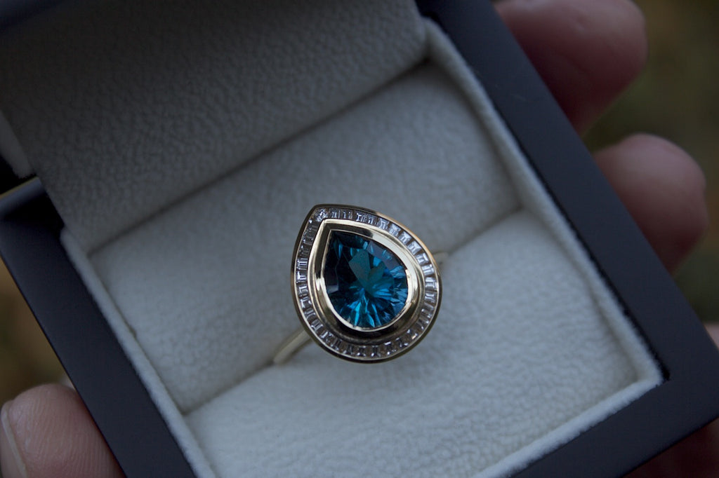 Patience Jewellery Bespoke Blue Topaz Diamond Gold Cocktail Ring