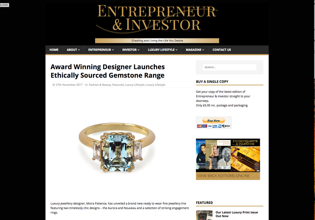 Award Winning Designer Launches Ethically Sourced Gemstone Range