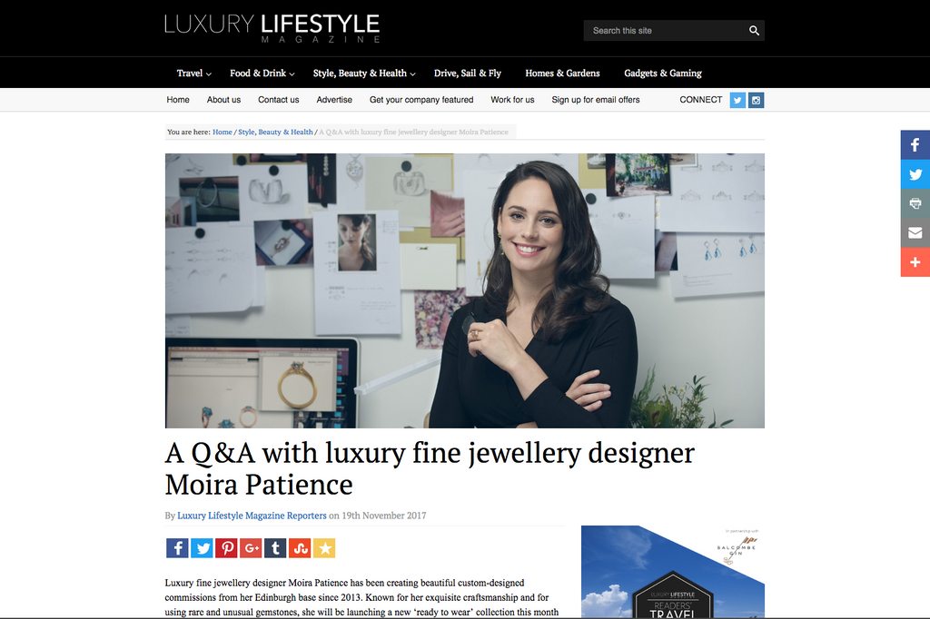 A Q&A with luxury fine jewellery designer Moira Patience