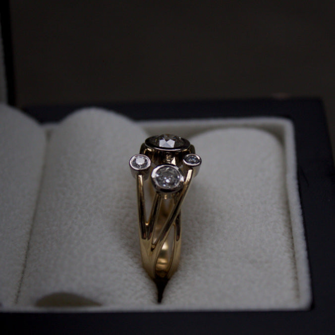 Patience Jewellery Bespoke criss-cross diamond ring