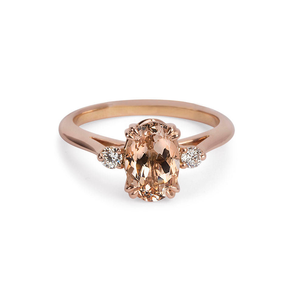 gold diamond morganite ring rose