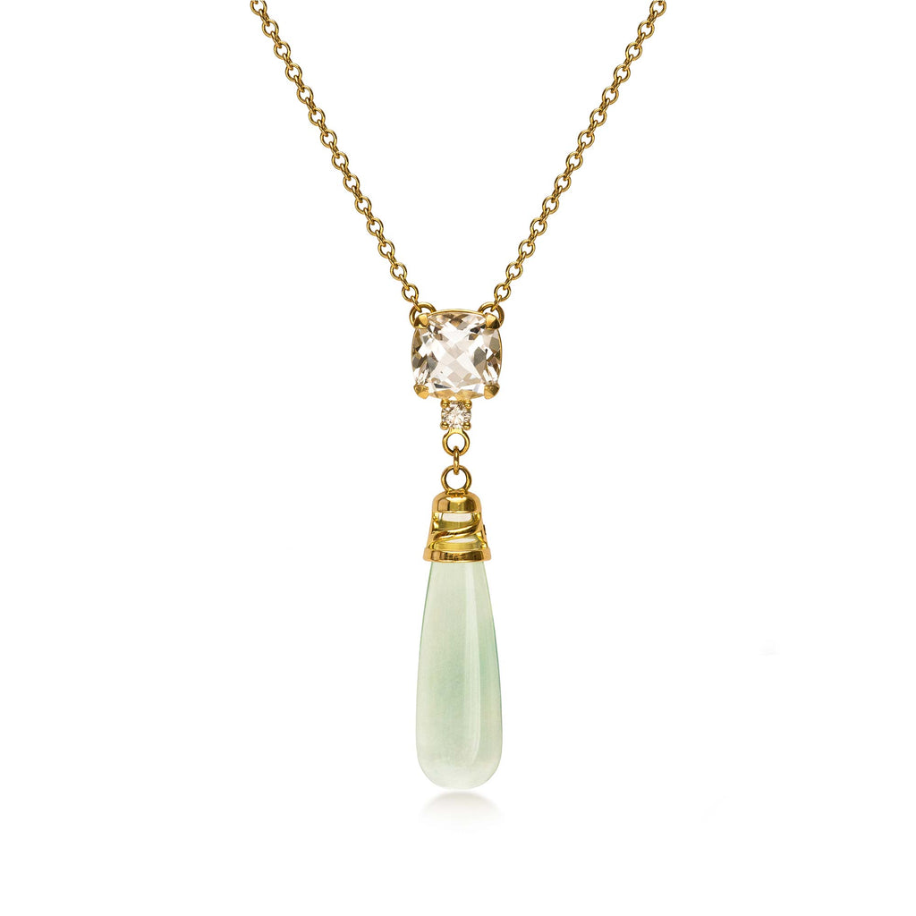 Moira Patience Fine Jewellery Aurora Gold Green Amethyst Crystal Quartz and Diamond Drop Pendant Necklace