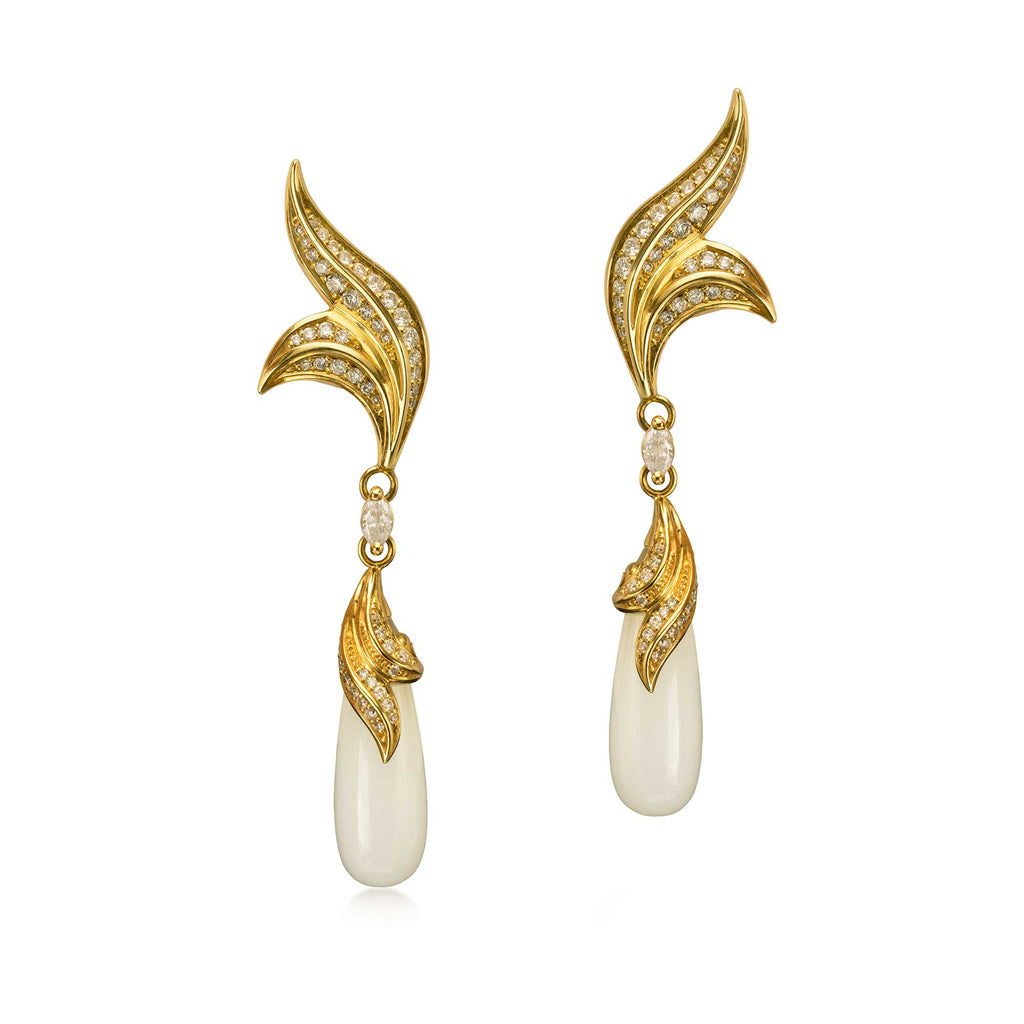 Moira Patience Fine Jewellery Nouveau Gold Diamond Earrings