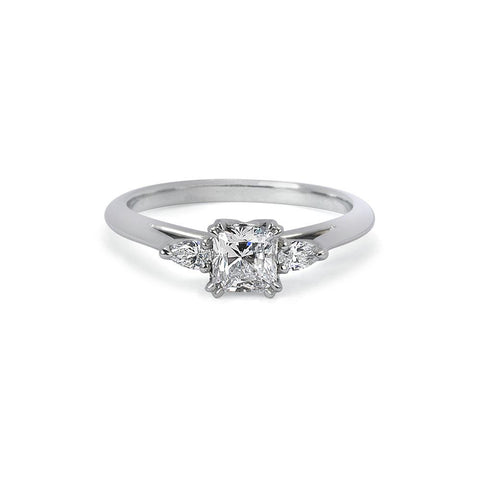 Moira Patience Fine Jewellery Radiant Cut Diamond Trilogy Engagement Ring in Platinum