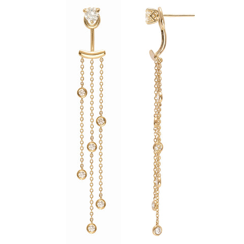 Supernova diamond ear tassels in Yellow gold