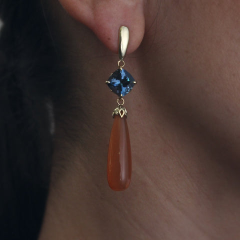 London Blue Topaz and Citrine Drop Earrings
