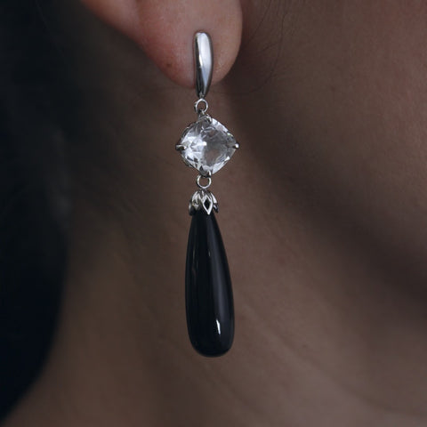 Crystal Quartz and Black Onyx Drop Earrings
