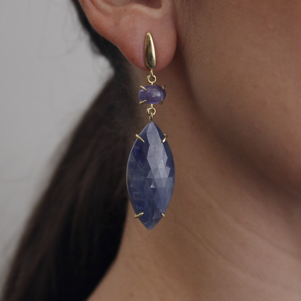 Sapphire & Tanzanite Marquise Drop Earrings