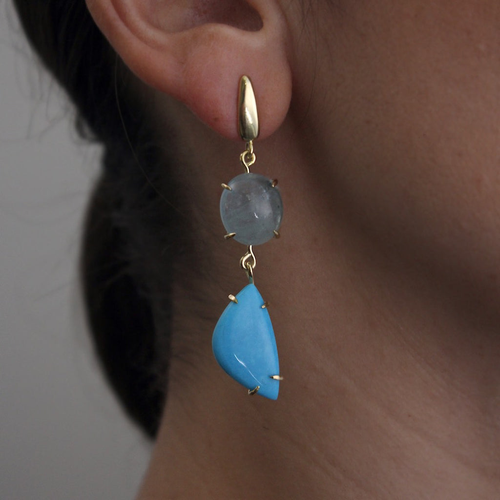 Turquoise & Aquamarine Drop Earrings