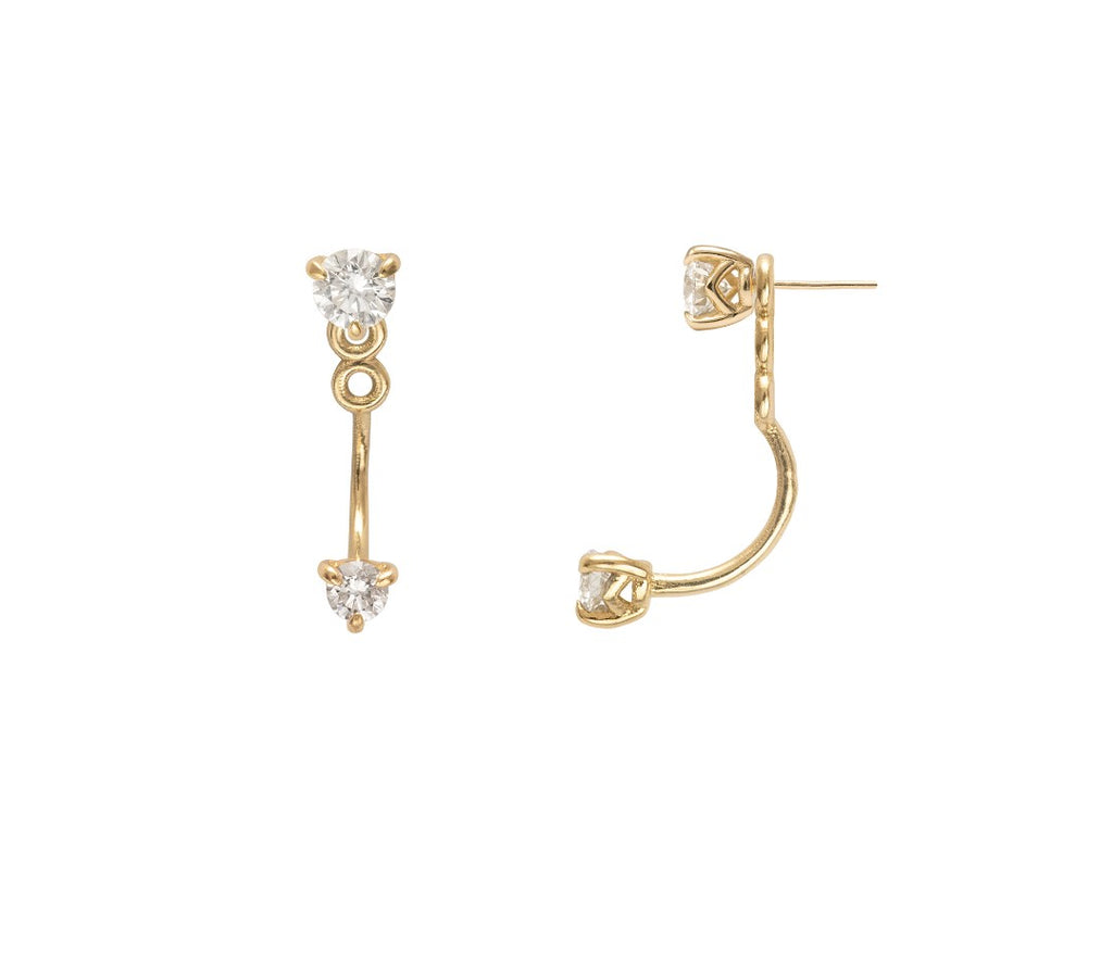 Supernova diamond ear jackets in yellow gold