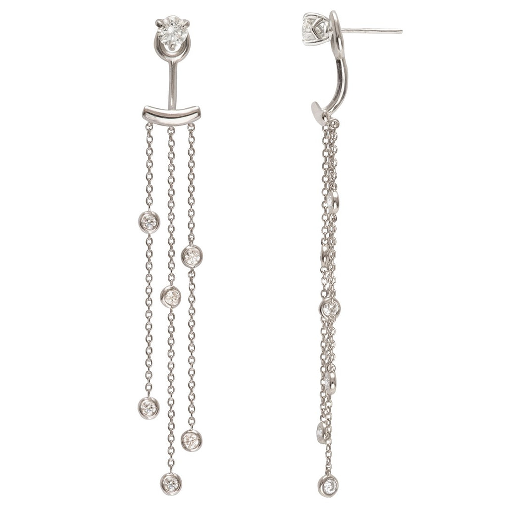 Supernova diamond ear tassels in White gold