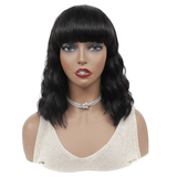 Loose Deep Bob Full Machine Made None Lace Front Wigs With Bangs For Women