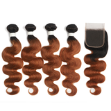 lumiere 1B/30 Ombre Body Wave 4 Bundles With 4x4 Lace Closure Pre Colored human hair