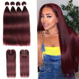 lumiere color 99j Straight Hair 4 Bundles With 4x4 Lace Closure Pre Colored human hair