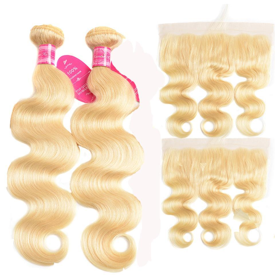 613 Blonde Color 2 Bundles Body Wave with 13x4 Frontal Virgin Human Hair