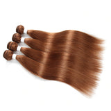lumiere color #30 Straight Hair 3 Bundles With 13x4 Lace Frontal Pre Colored Ear To Ear