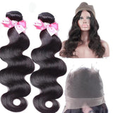 Lumiere malaysian Virgin Hair Body Wave 2 Bundles With 360 Lace frontal