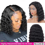 Short Bob Lace Front Wigs Deep wave T-Part Lace Human Hair Wigs Pre-Plucked