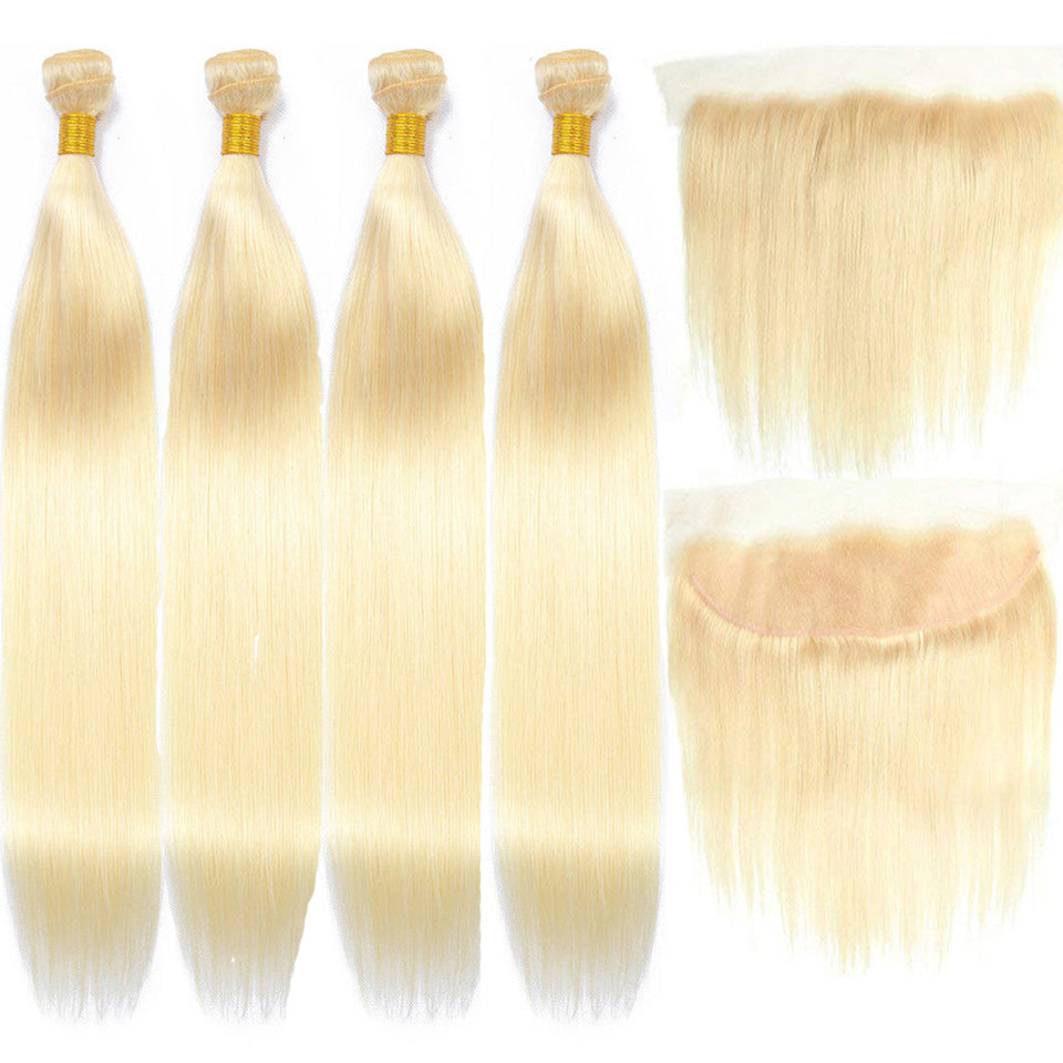 lumiere 613 Blonde Straight 4 Bundles with 13*4 Frontal Human Virgin Hair